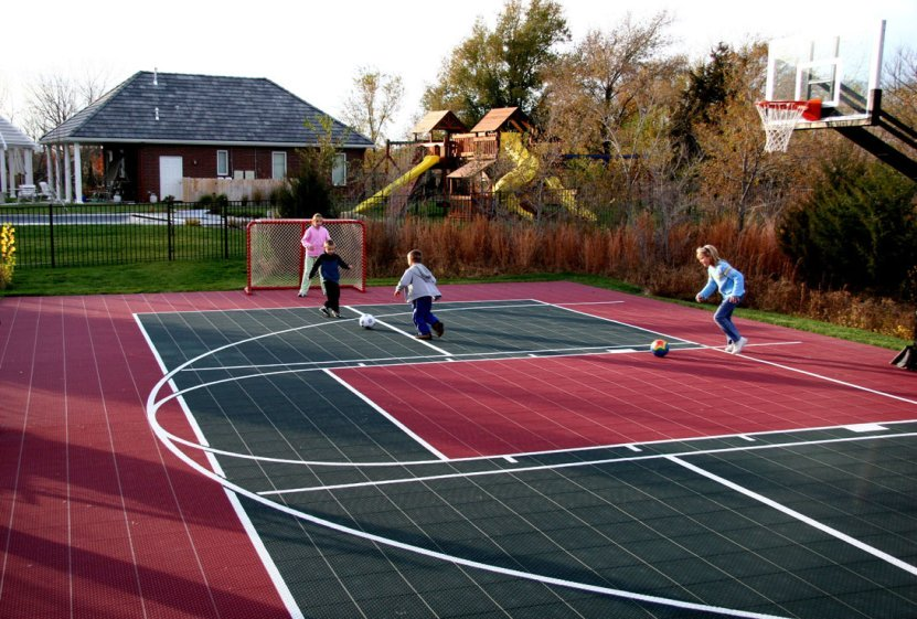 Multi game courts at basketball for Indoor sport court cost