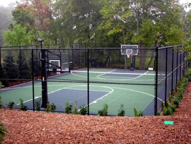 Outdoor basketball court tile for backyard courts for Outdoor sports court