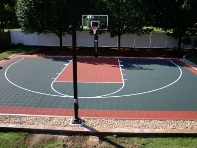 Outdoor basketball court tile for backyard courts for Half basketball court cost