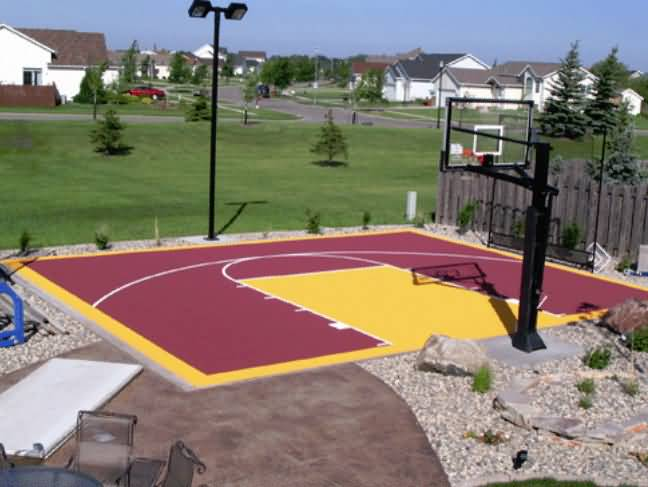 Outdoor basketball court tile for backyard courts for Diy sport court