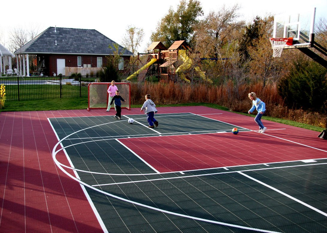 Multi game courts at basketball for Backyard sport court