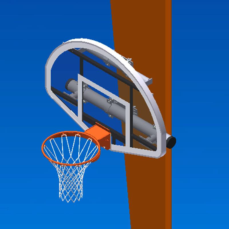 Column Mounted Basketball And Rim Combo
