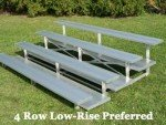 Low Rise Bleachers -4 Row -15'L -Double Footplank, Aluminum Understructure