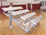 3 Row -15'L -Low Rise, Single Foot Plank, Tip n Roll Bleacher