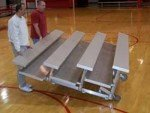 3 Row -9'L -Low Rise,(2) Foot Planks, Tip n Roll Bleacher