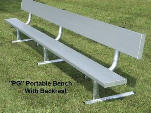 Portable Bench With Back (Outdoor) (Galvanized Legs)